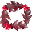 Stock Photo: Christmas decoration frame of red berries holly with oak leaves isolated on white