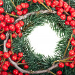 Royalty-Free Stock Photo: Christmas decoration with natural red berries isolated on white background
