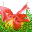 Royalty-Free Stock Photo: Easter eggs in the green nest isolated on white background