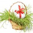 Easter egg in a basket — Stock Photo
