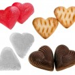 Collection sweety food of shape heart : sugar, chocolate candy , cookie , isolated on white background — Stock Photo
