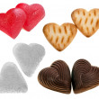 Collection sweety food of shape heart : sugar, chocolate candy , cookie , isolated on white background — Stock Photo #13837543