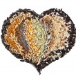 Heart Shape of Collection Cereal Grains and Seeds — Stock Photo
