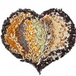 Heart Shape of Collection Cereal Grains and Seeds — Stock Photo #13837554