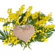 Mimosa acacia flowers with cardboard heart card on white - Stock Photo