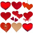 Collection of red hearts isolated on white background — Stock Photo