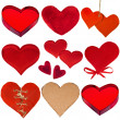 Collection of red hearts isolated on white background - 图库照片