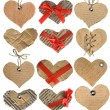 Collection of cardboard card in a shape heart isolated on white background - Stock Photo