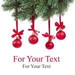 jul gren med röda bollar på vit — Stockfoto