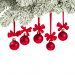 Foto de Stock  : Christmas branch with red balls on white
