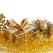 Royalty-Free Stock Photo: Christmas golden gift box on white background