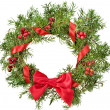 Christmas decoration wreath with red holly berries isolated on white background - Stockfoto