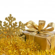Stock Photo: Christmas golden gift box on white background