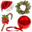 Christmas Set (santa's hat,wreath, candy cane, red ball) on white background — Stock Photo