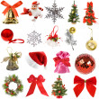 Collection Christmas decoration isolated on white background — Stock Photo