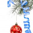 Christmas branch with red ball isolated on white background — Stock Photo #13838159