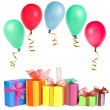 Royalty-Free Stock Photo: Colorful gift boxes with colored balls, card, isolated on white background