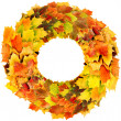 Letter O made of autumn leaves — Stock Photo