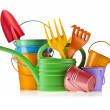Royalty-Free Stock Photo: Colorful gardening tools : Watering can, bucket, spade over white background