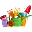 Colorful gardening tools : Watering can, bucket, spade over white background — Stock Photo