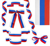 Collection ribbon bow of the Russian flag isolated — Stock Photo