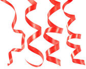 Set of holiday hanging red ribbons — Stock Photo