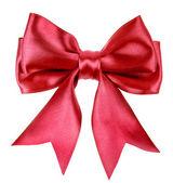 Red ribbon bow geïsoleerd op witte achtergrond — Stockfoto