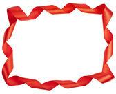 рамка красная лента, изолированные на белом фоне — Стоковое фото