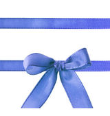 Blue ribbon with bow isolated on white background — Stock Photo