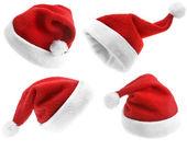 集合的红色圣诞圣诞老人帽子 — 图库照片