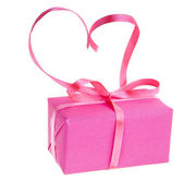 Gift box with pink ribbon bow, isolated on white background — Foto Stock