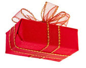 Gift red box with ribbon bow — Stock Photo