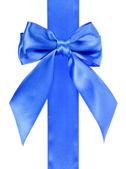 Beyaz arka plan üzerinde izole mavi şerit yay — Stok fotoğraf