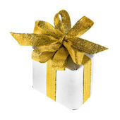 Gift box with ribbon bow isolated on white — Stock Photo