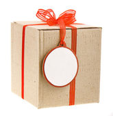 Gift cardboard box with round paper tags for your text — Stock Photo