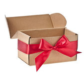 Present boxes with red ribbon bows isolated on white — Foto de Stock