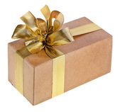 Box with ribbon bow isolated on white — Stock Photo