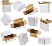 Open paper boxes on white background — Stock Photo