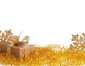 Christmas golden gift box on white background — Stock Photo