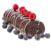 Chocolate swiss roll cake roulade with fresh berries isolated on white — Stock Photo