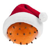 Orange clove with a red christmas Santa Claus hat isolated — Stock Photo