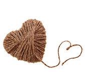 Rope heart isolated on white background — Stock Photo