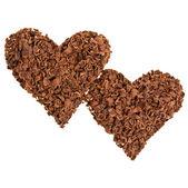 Chocolat en forme de deux coeurs isolé sur fond blanc — Photo
