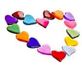 Decoratief frame van kleurrijke gevormde hart gel geïsoleerd op witte achtergrond — Stockfoto