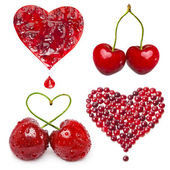 Collection of fresh fruit berries card in a shape of heart isolated on white background — Stock Photo