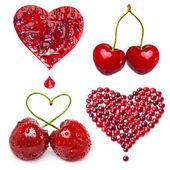 Collection de carte de baies de fruits en forme de cœur isolé sur fond blanc — Photo