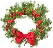 Christmas decoration wreath with red holly berries isolated on white background — Stock Photo