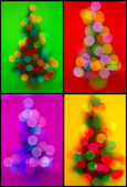 Christmas collection of trees with defocused lights — Stock Photo