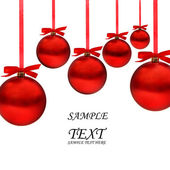 Christmas card with red balls and ribbons with space for your text — Stock Photo