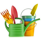 Colorful gardening tools : Watering can, bucket, spade over white background — 图库照片